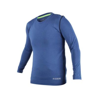 FIRESTAR 男機能緊身長袖上衣-長T T恤 訓練 慢跑 路跑 深藍