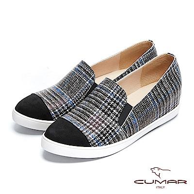 【CUMAR】率性柔美-異材質拼接復古格紋內增高休閒鞋
