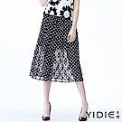 YIDIE衣蝶 亮感圓點都會蕾絲網紗八分裙