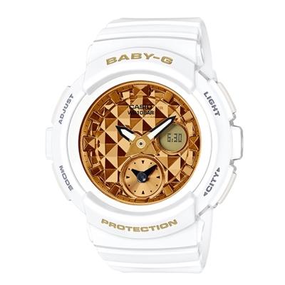 BABY-G 時尚穿搭搖滾風格休閒錶(BGA-195M-7A)時尚白44.3mm