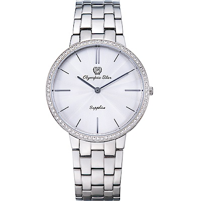 OlympiaStar 奧林比亞之星 時尚水波紋晶鑽腕錶-白/40mm  58060DMS