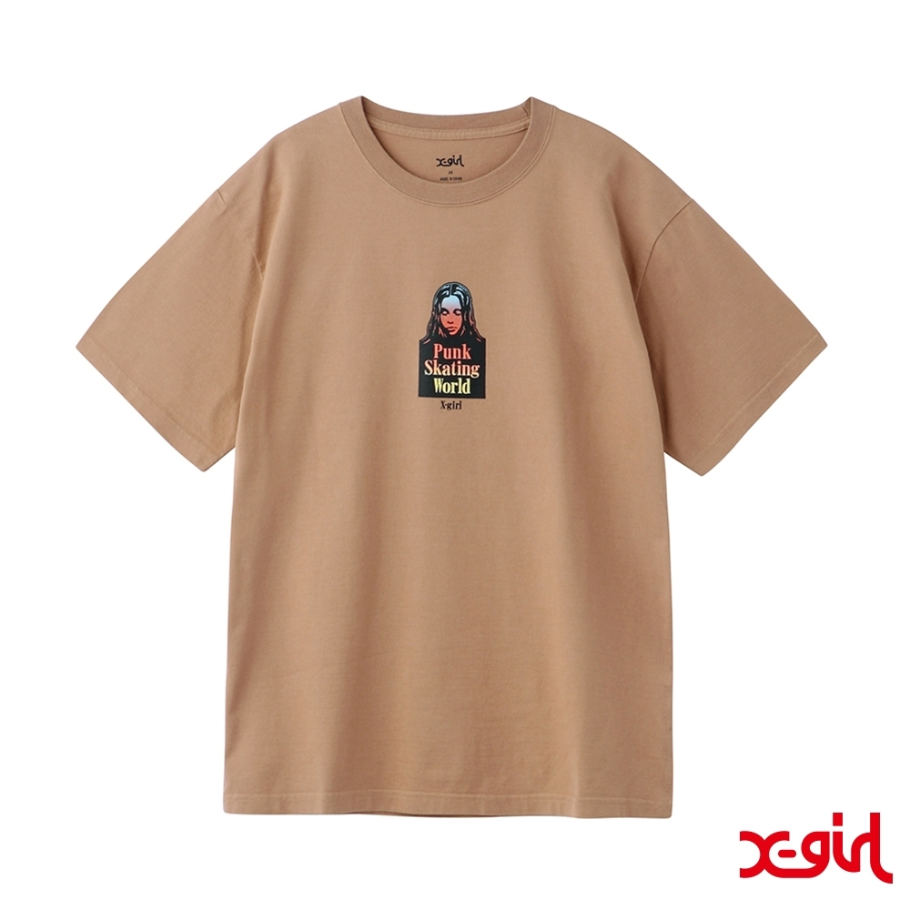 X-girl GRADATION FACE S/S TEE短T-咖啡