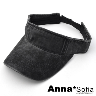【滿額再75折】AnnaSofia 暈染水洗棉 遮陽防曬空頂帽(灰黑系)