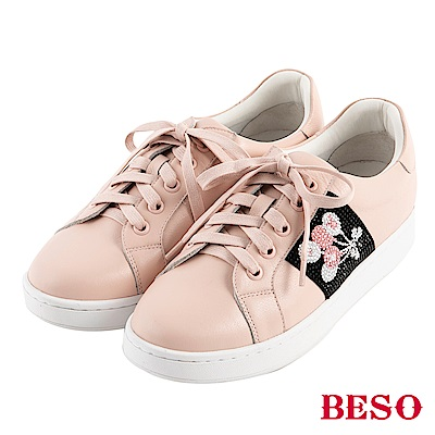 BESO 潮流頑童 不對襯綁帶休閒鞋~粉