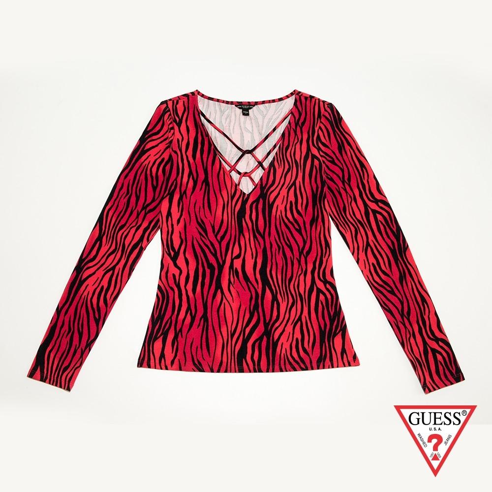 GUESS-女裝-斑馬紋長袖上衣-紅