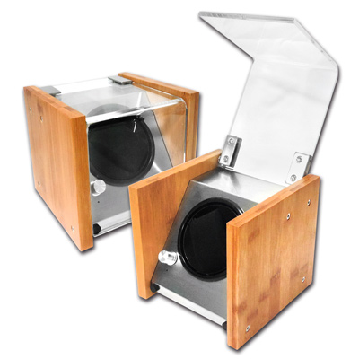 機械錶自動上鍊收藏盒 1旋1入錶座轉動 楠竹竹木 - 原木色