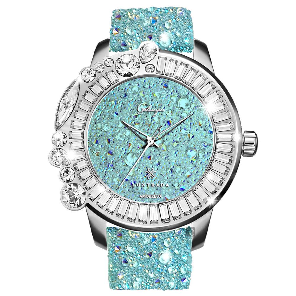 Galtiscopio迦堤 星鑽浪漫系列閃耀水晶錶-綠/48mm
