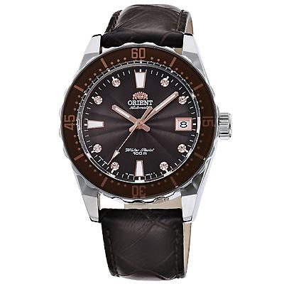 ORIENT 東方 晶鑽潛水真皮機械錶手錶 FAC0A005T-咖啡/39mm
