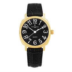 Valentino Coupeau 范倫鐵諾 古柏 萊茵香頌女錶 金色殼 黑面 黑皮帶