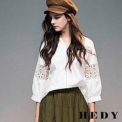 Hedy赫蒂 鏤空雕花袖立領落肩棉上衣(共兩色)