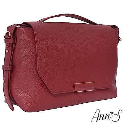 Ann'S都會OL-頂級牛皮全真皮手提肩背兩用包-紅