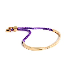 agnes b. 玫瑰金女性手環棉繩(紫)