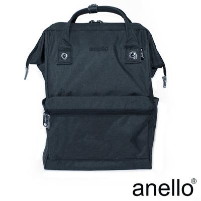日本正版anello 高雅混色紋理 刺繡LOGO後背包〈深藍色NV〉L