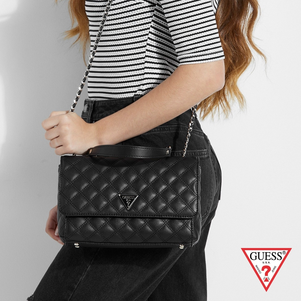 GUESS-女包-菱格壓紋優雅鍊條肩背包-黑