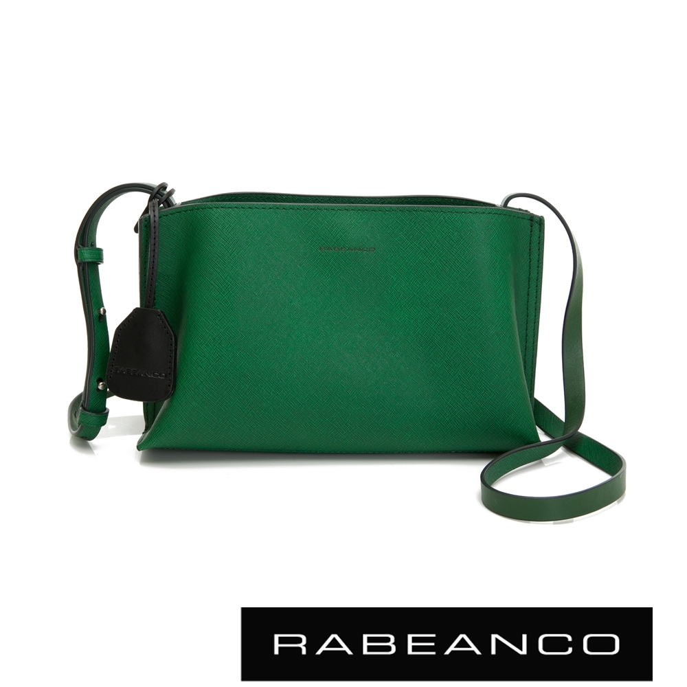 RABEANCO DAE真牛皮流線壓紋斜背小方包 綠