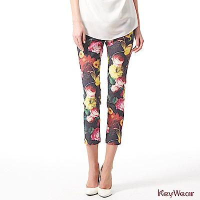 KeyWear奇威名品    亮彩油畫印花八分褲-綜合色