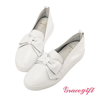 Grace gift-全真皮蝴蝶結柔軟懶人鞋 白