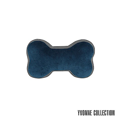 Yvonne Collection 雙色拼接中骨頭抱枕-藍/暗灰