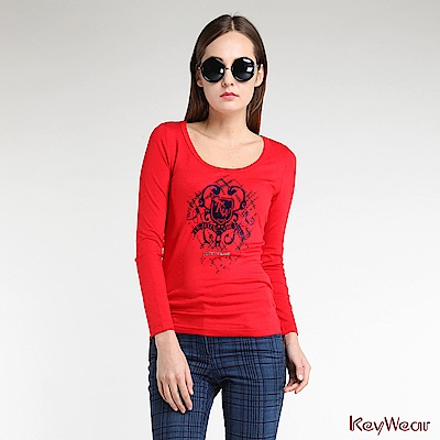 KeyWear奇威名品    英式華麗植絨LOGO長袖上衣-紅色