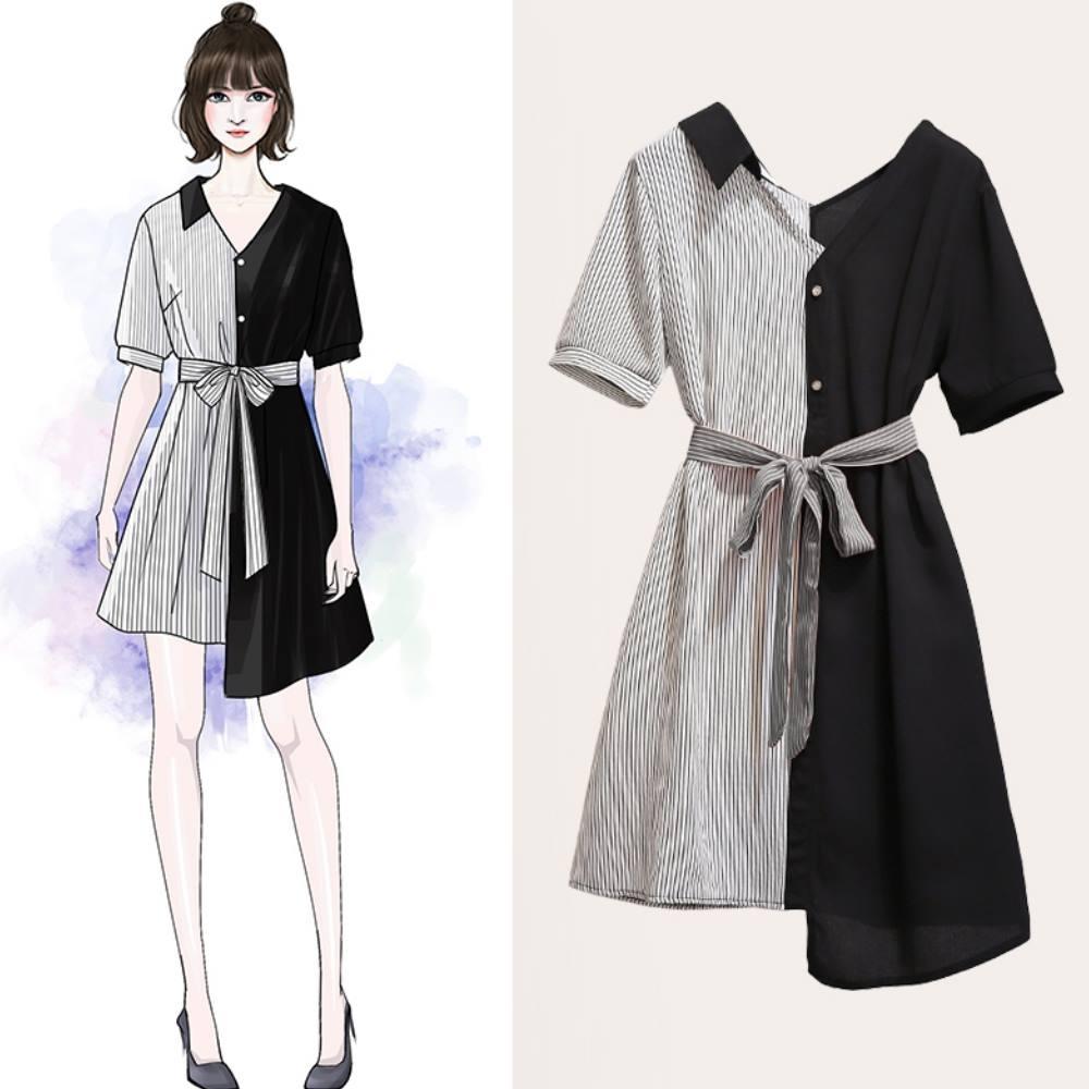 中大尺碼V領單肩領條紋拼接腰綁帶不對稱擺洋裝XL~4L-Ballet Dolly