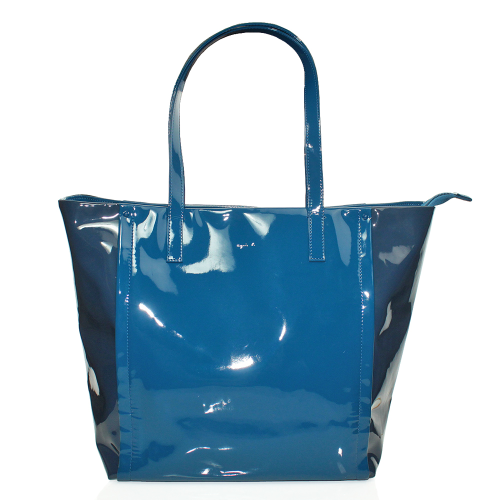 agnes b 素面直立拉鍊PVC手提肩背包(大/藍)