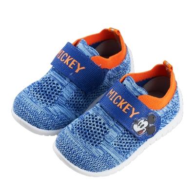 迪士尼童鞋 米奇 彈性飛織寶寶休閒鞋-藍