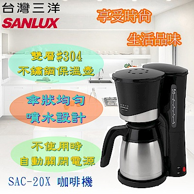 SANLUX 台灣三洋 1000CC美式不鏽鋼咖啡機 SAC-20X