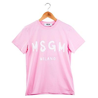 MSGM 經典油漆塗鴉白色英文字母LOGOT恤 (粉紅)