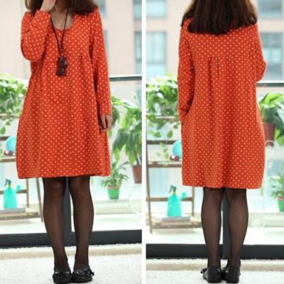 【韓國K.W.】甜美可愛點點圓領寬鬆洋裝