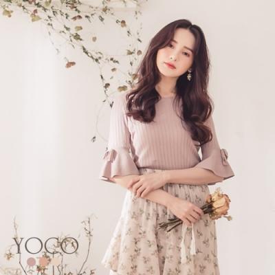 東京著衣-YOCO 氣質滿分坑條針織喇叭袖多色上衣-S.M.L(共三色)