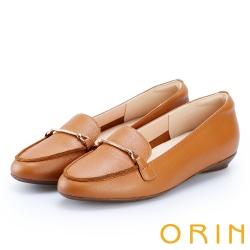 ORIN 女紳時尚 金屬鍊扣牛皮樂福鞋-棕色