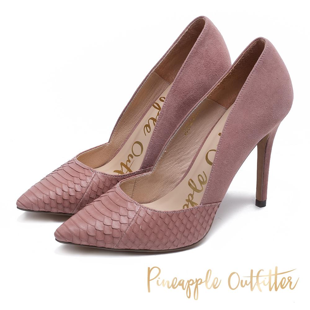 Pineapple Outfitter 究極質感 真皮拼接高跟鞋-絨粉