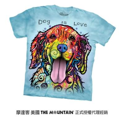 摩達客(預購)美國進口The Mountain 彩繪開心黃金獵犬 純棉環保短袖T恤