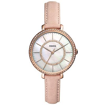 FOSSIL Jocelyn優雅晶鑽真皮手錶(ES4455)-珍珠貝X玫瑰金/36mm