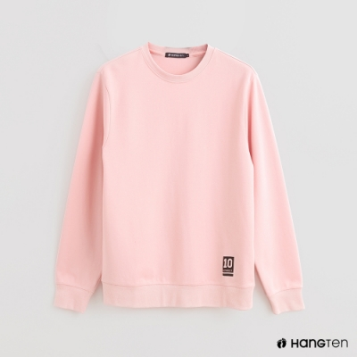 Hang Ten - 男裝 - 簡約風素面圓領長袖上衣 - 粉