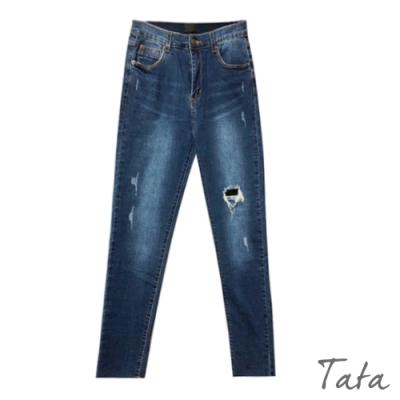 破洞抽鬚不收邊牛仔褲 TATA-(S~XL)