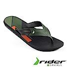 Rider 巴西 男 DOUBLE THONG AD 寬版鞋帶夾腳拖鞋 黑綠色