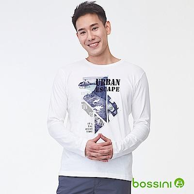 bossini男裝-印花長袖T恤08灰白