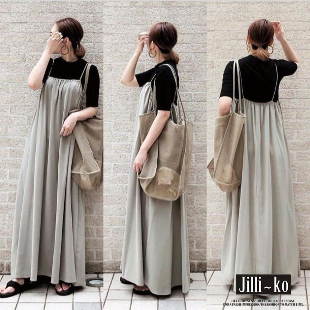 JILLI-KO 日系吊帶款連衣裙- 灰色