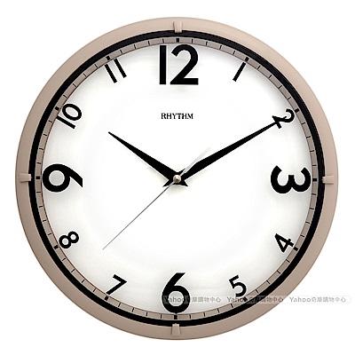 RHYTHM日本麗聲 浮印數字極靜音簡約掛鐘(暖褐)/31cm