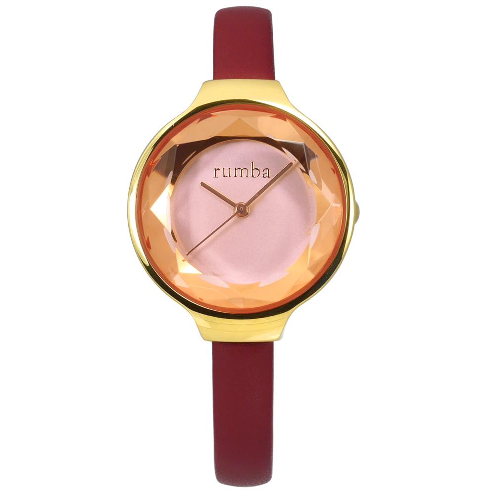 rumba time 紐約品牌 切割玻璃鏡面 真皮手錶-粉x金框x酒紅/30mm