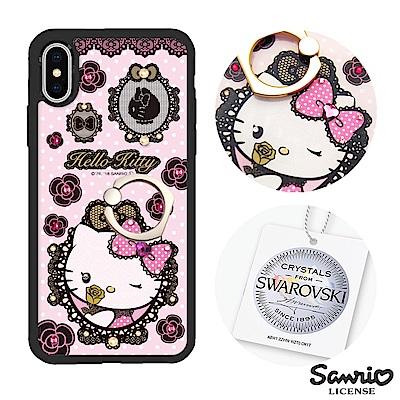 三麗鷗 Kitty iPhoneX 施華彩鑽減震指環扣手機殼-蕾絲凱蒂