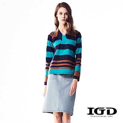IGD英格麗 悠閒條紋和服領上衣-深藍