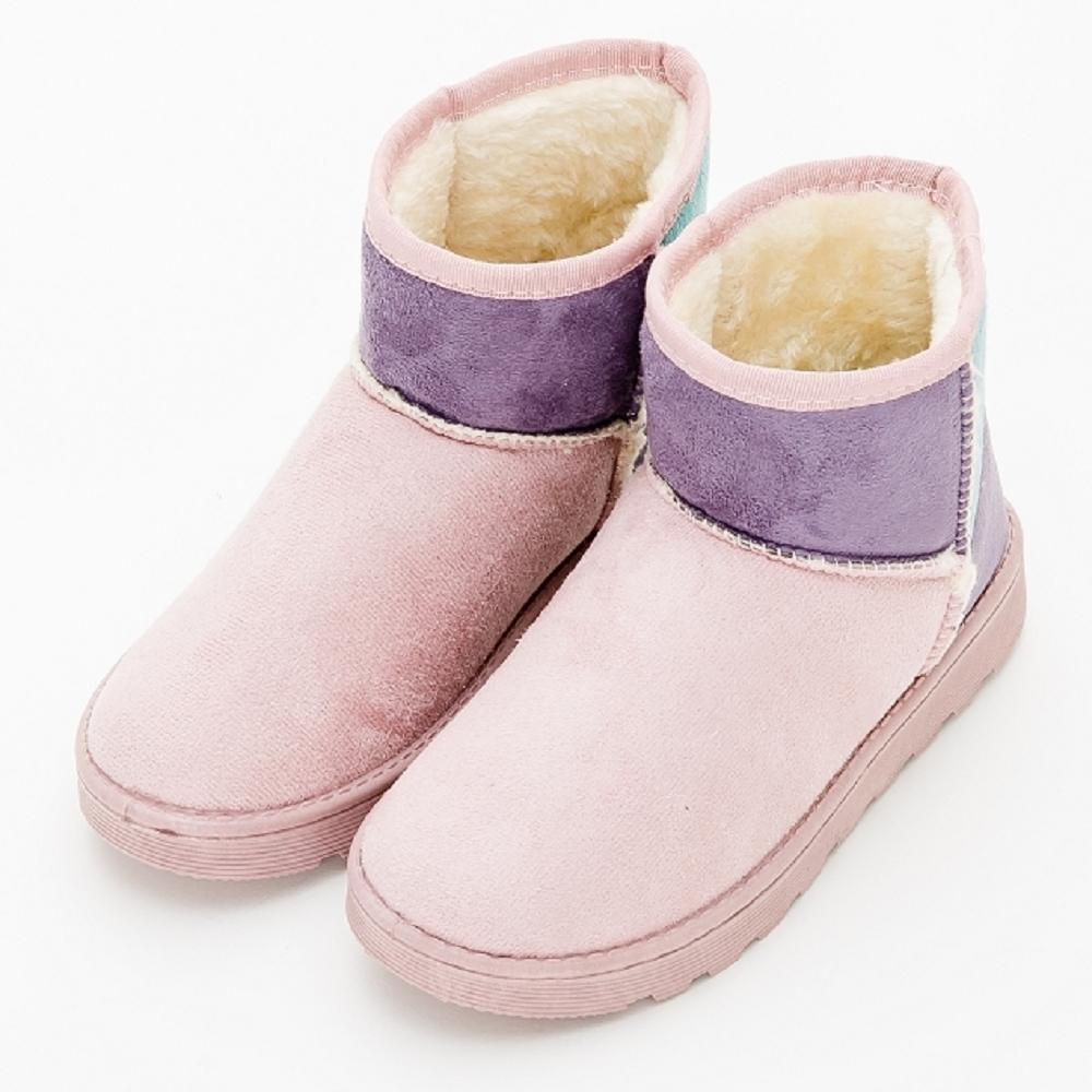 River&Moon雪靴 韓版色塊拼接內撲毛Q軟短雪靴