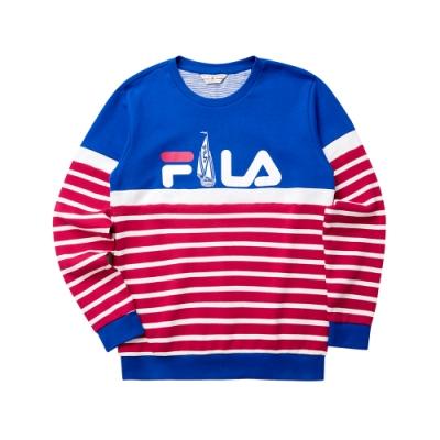 FILA 男圓領長袖T恤-藍色 1TET-5701-BU