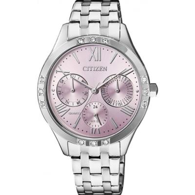 CITIZEN 星辰Swarovsk羅馬晶鑽女士鋼帶腕錶-粉紫(ED8170-56X)