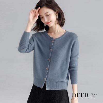 DEER.W 圓領穿鎖釦針織外套(灰藍)