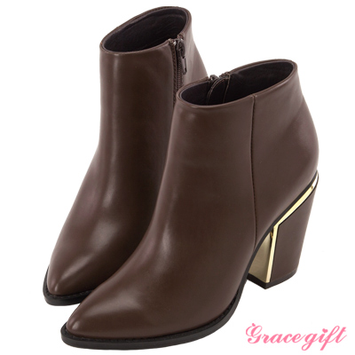 Grace gift X Wei唐葳-簡約個性金屬粗跟短靴 咖