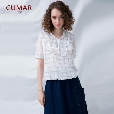 【CUMAR】荷葉領綁帶女短袖-襯衫 (二色)