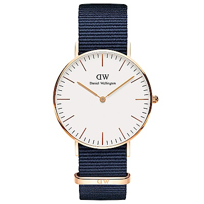 DW手錶 官方旗艦店 36mm玫瑰金框 Classic 星空藍尼龍帆布手錶